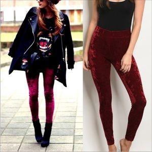 Brand new boutique Sexy velvet leggings burgundy